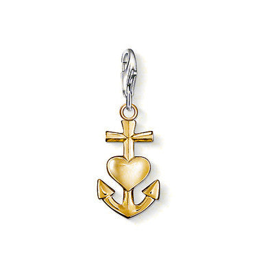 Thomas Sabo Charm  Sterling Silver Club k Yellow Gold Plated All In One Faith Love Hope D