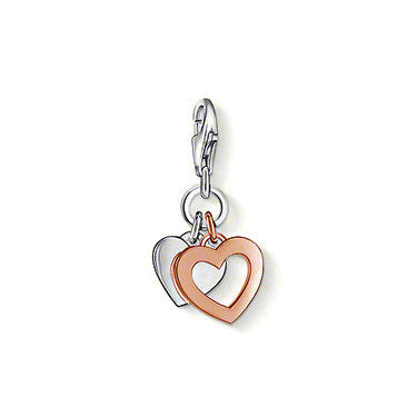 Thomas Sabo Charm  Sterling Silver Club k Rose Gold Plated Two Hearts