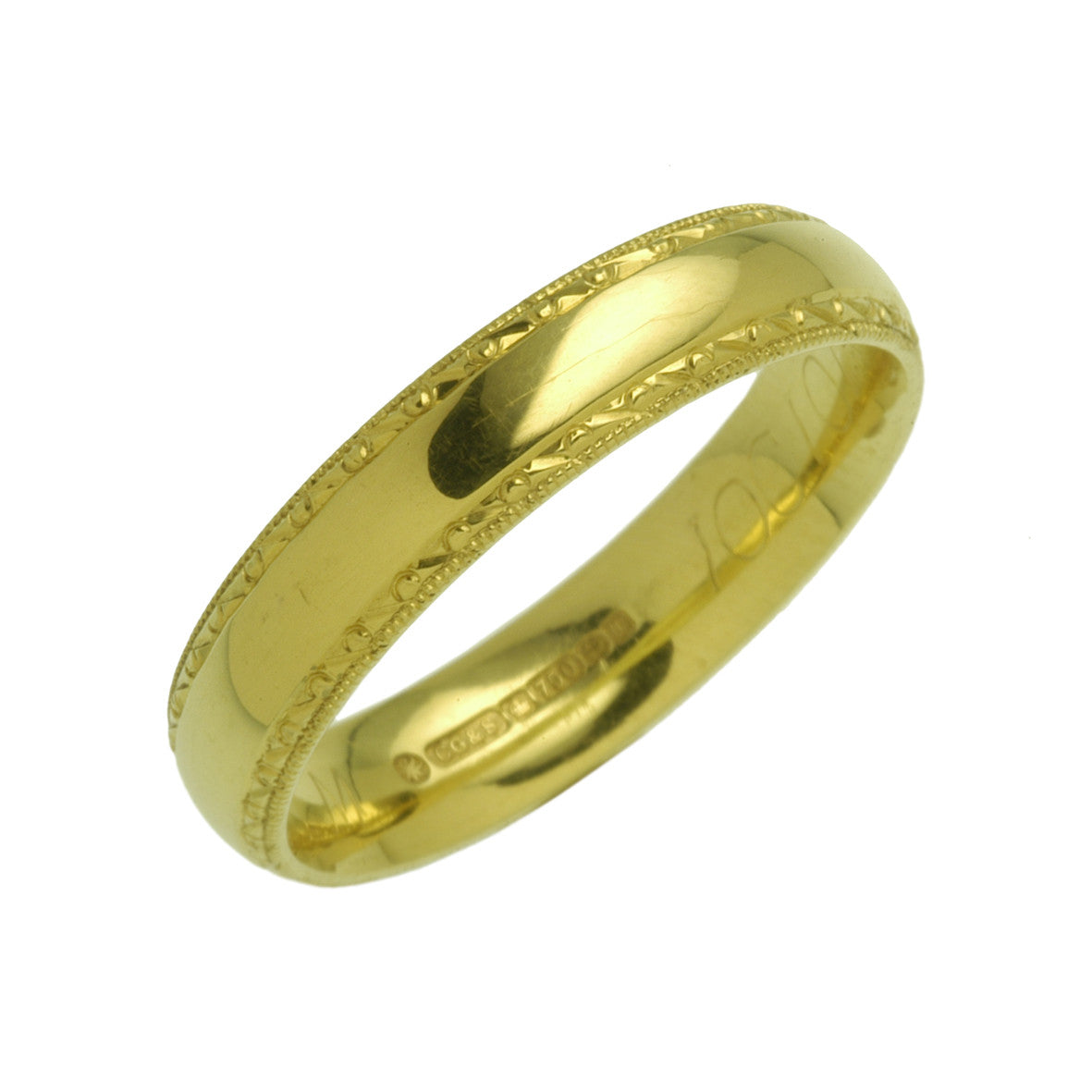 Charles Green Pattern Engraved Wedding Ring