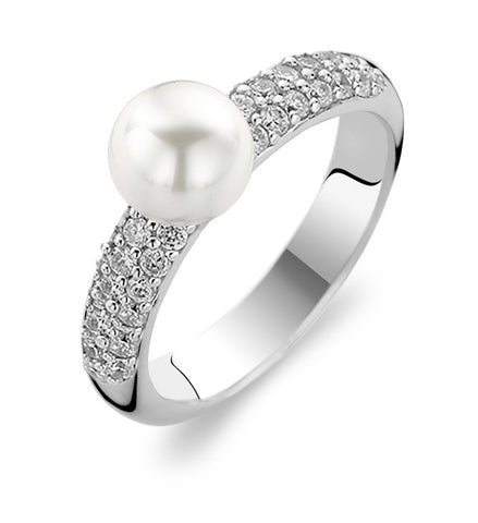 Ti Sento Ring Silver and White Cubic Zirconia Ball Top