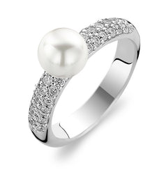 Ti Sento Ring Silver and White Cubic Zirconia Ball Top 1559PW