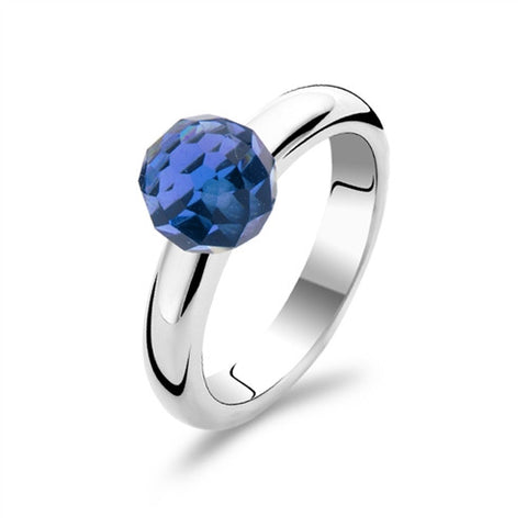 Ti Sento Ring Silver And Blue Cubic Zirconia Faceted Sphere