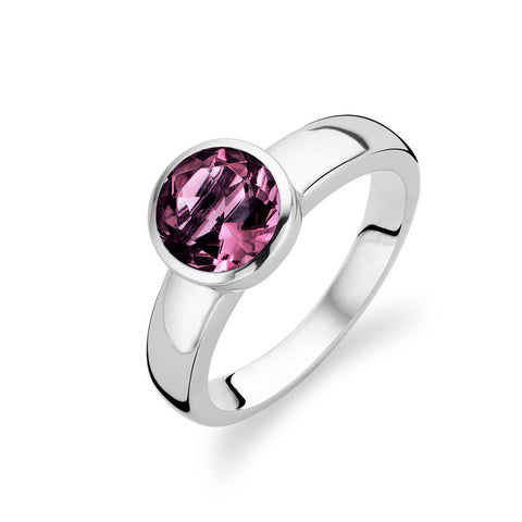Ti Sento Ring Silver And Purple Cubic Zirconia Faceted Round