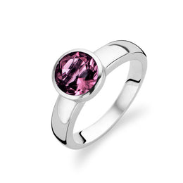 Ti Sento Ring Silver And Purple Cubic Zirconia Faceted Round 1616AU