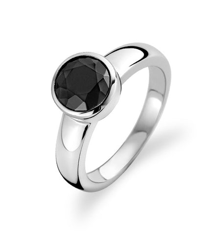 Ti Sento Ring Silver And Black Cubic Zirconia Faceted Round
