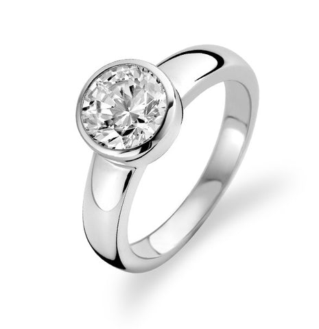 Ti Sento Ring Silver And White Cubic Zirconia Faceted Round