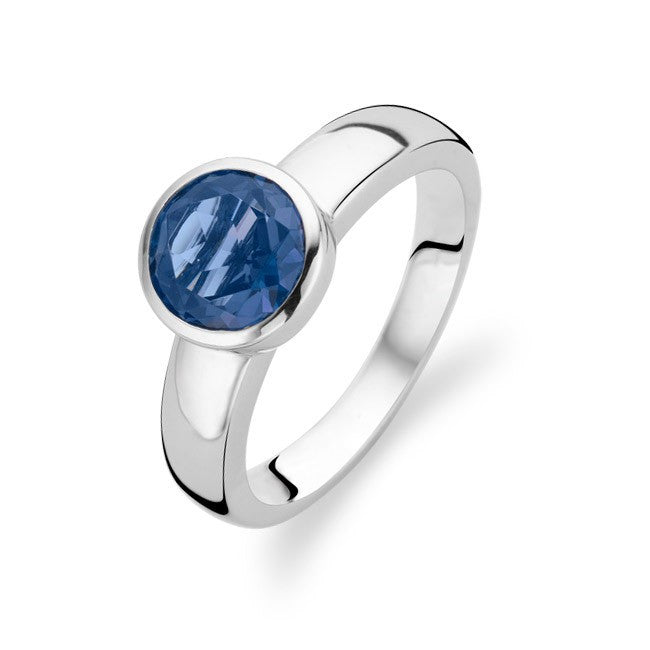 Ti Sento Ring Silver And Blue Cubic Zirconia Faceted Round