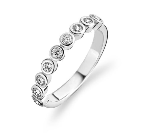 Ti Sento Ring Silver And White Cubic Zirconia 9 Stone