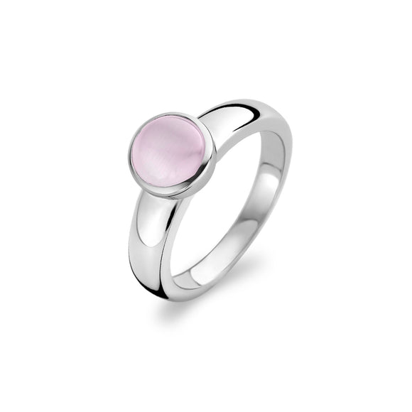 Ti Sento Ring Silver And Pink Cubic Zirconia Round Top 1731CP