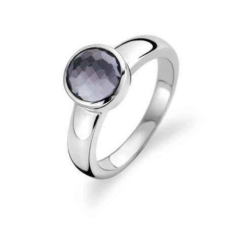 Ti Sento Ring Silver And Grey Cubic Zirconia Round Top