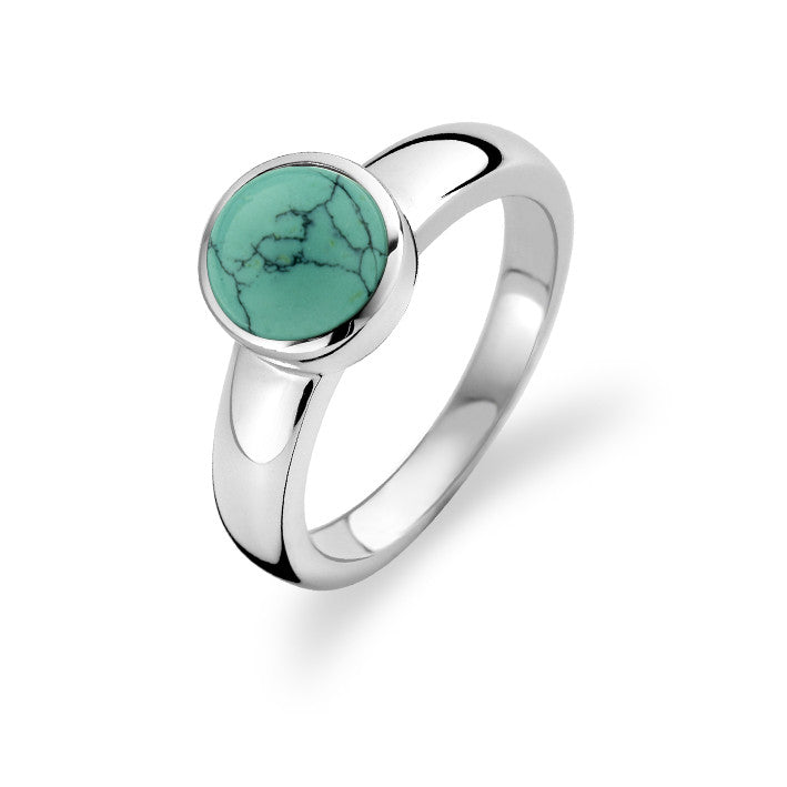 Ti Sento Ring Silver and Turquoise Round Top