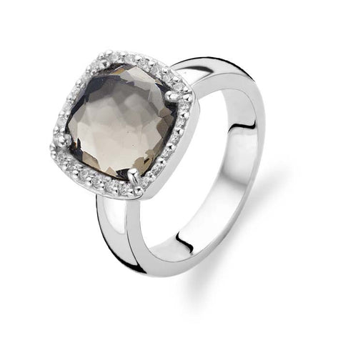 Ti Sento Ring Silver And Brown Cubic Zirconia Faceted Cushion