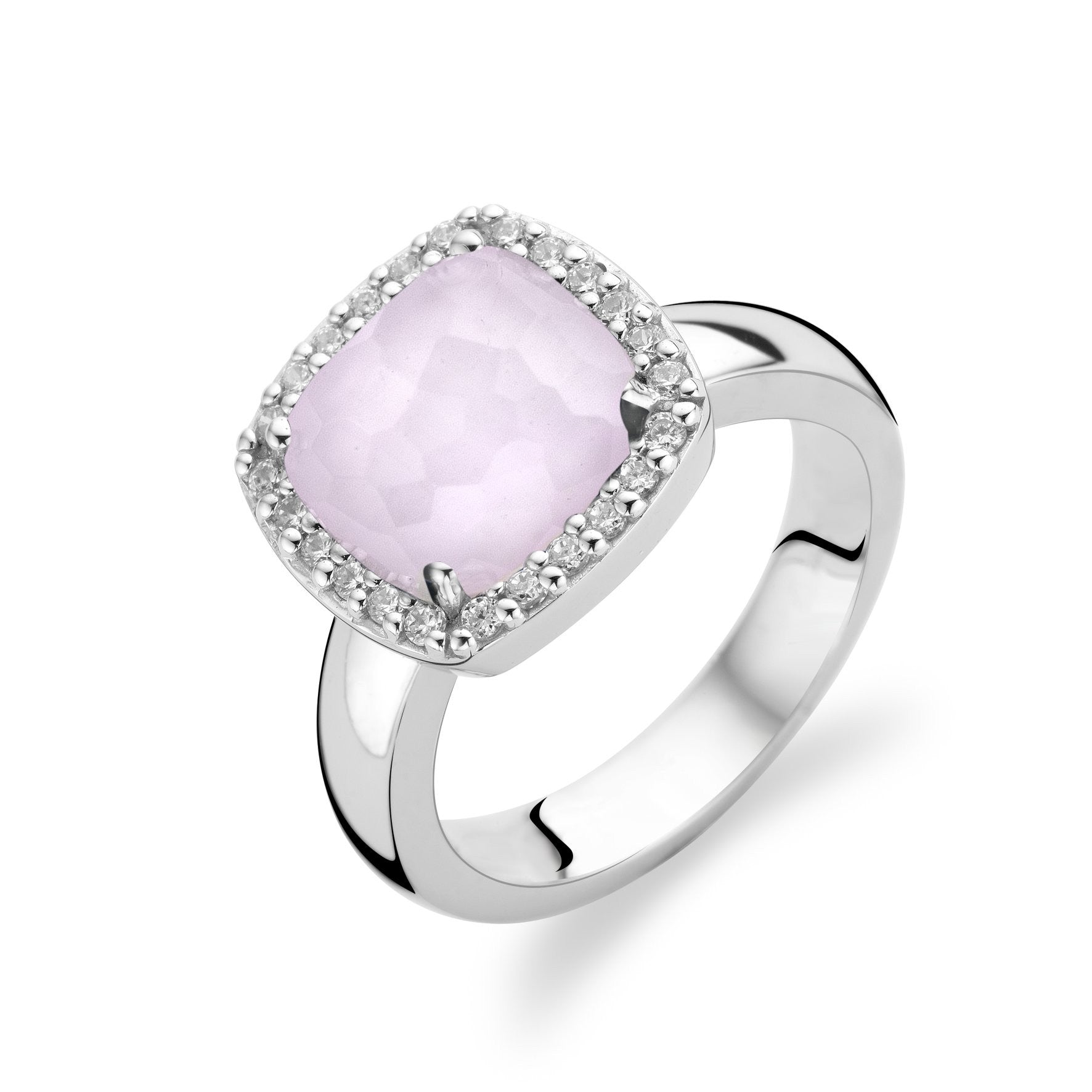 Ti Sento Ring Silver And Pink Cubic Zirconia Faceted Cushion