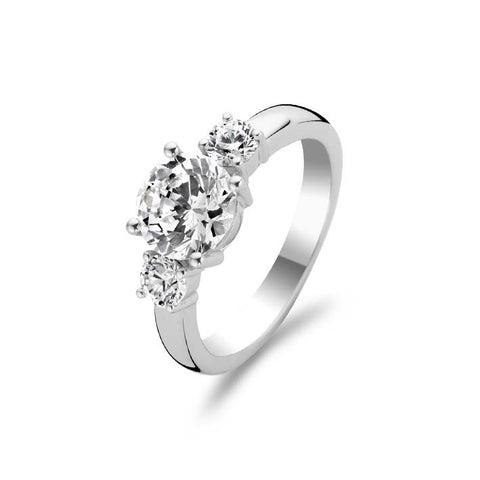 Ti Sento Ring Silver And White Cubic Zirconia 3 Stone