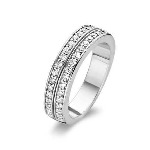 Ti Sento Ring Silver And White Cubic Zirconia 2 Row