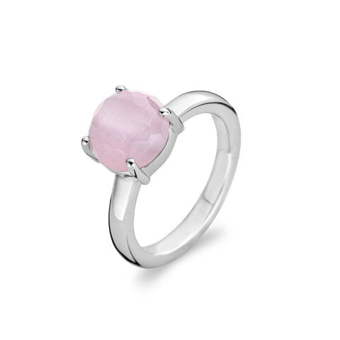 Ti Sento Ring Silver And Pink Cubic Zirconia Claw Set