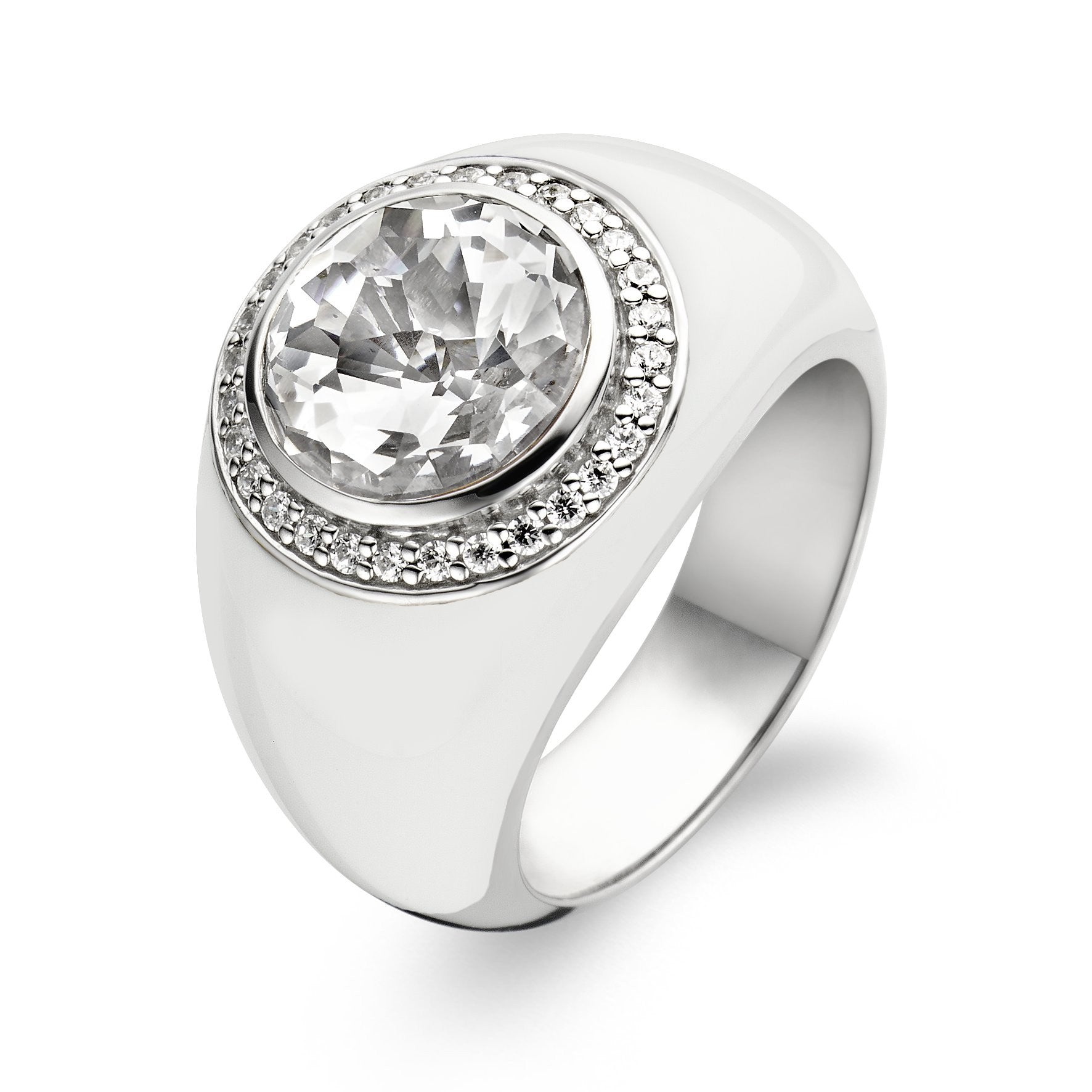 Ti Sento Ring Silver And White Cubic Zirconia Chunky Round