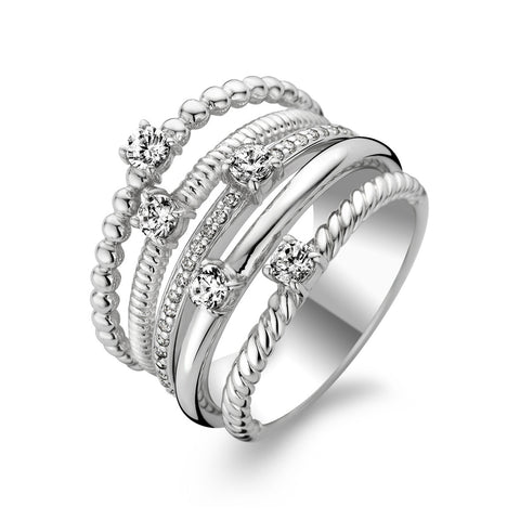 Ti Sento Ring Silver And White Cubic Zirconia Multi Textured 5 Band