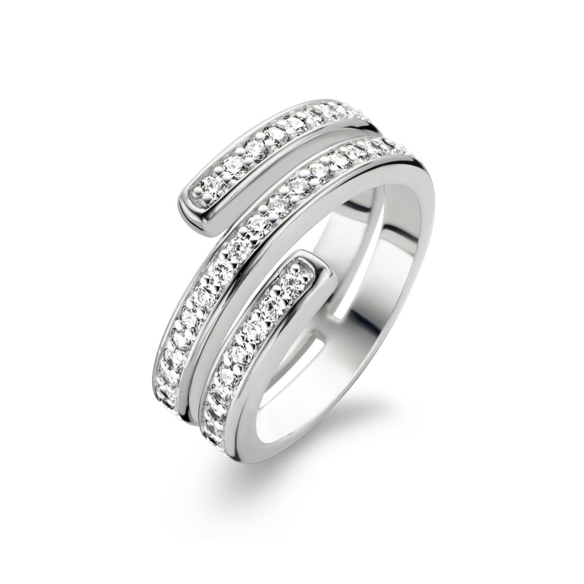 Ti Sento Ring Silver And White Cubic Zirconia Spiral