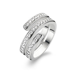 Ti Sento Ring Silver And White Cubic Zirconia Spiral 1866ZI