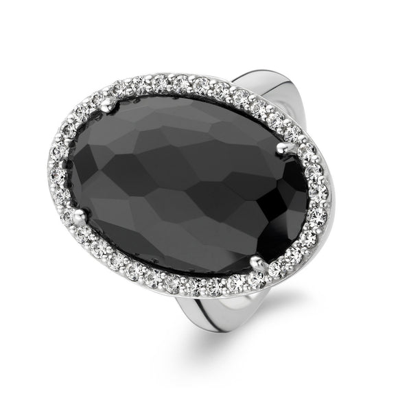Ti Sento Ring Silver And Black Cubic Zirconia Oval 1874ZB