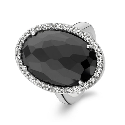 Ti Sento Ring Silver And Black Cubic Zirconia Oval