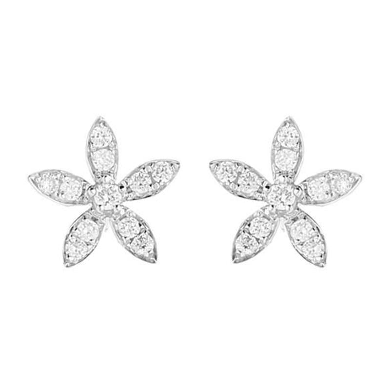 18ct White Gold 0.25ct Diamond Flower Petal Stud Earrings