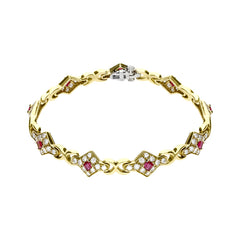 18ct Yellow Gold 1.79 Carat Diamond 1.69 Carat Ruby Bracelet