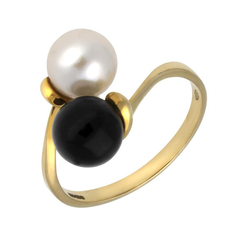 18CT YELLOW GOLD WHITBY JET PEARL DOUBLE BEAD TWIST RING