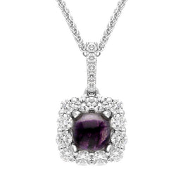 18ct White Gold Blue John 0.51ct Diamond Cushion Necklace, P2667.