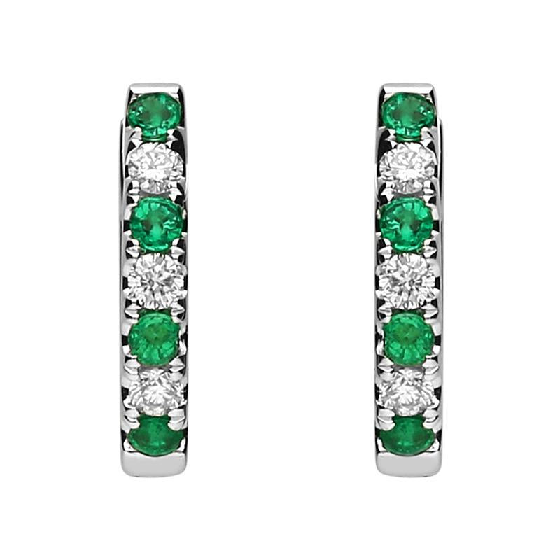 18ct White Gold Emerald and Diamond Huggie Hoop Earrings