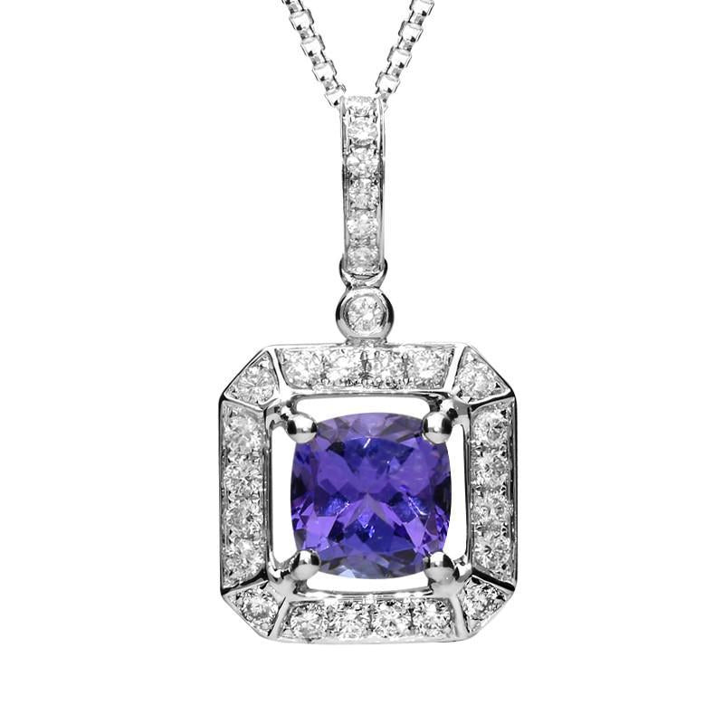 18ct White Gold 1.65ct Tanzanite 0.43 Carat Diamond Cluster Necklace