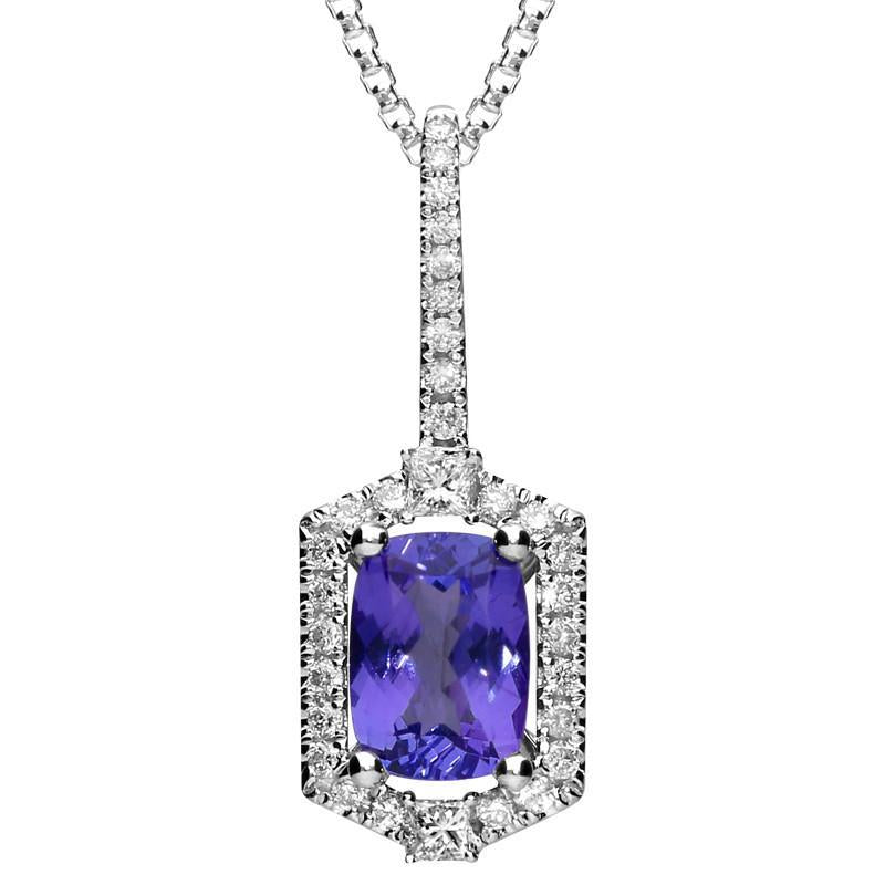 18ct White Gold 1.04ct Tanzanite Diamond Cluster Necklace