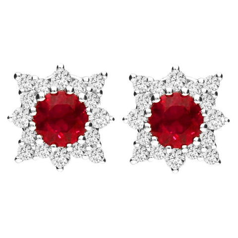 18ct White Gold 0.54ct Ruby 0.24ct Diamond Star Stud Earrings