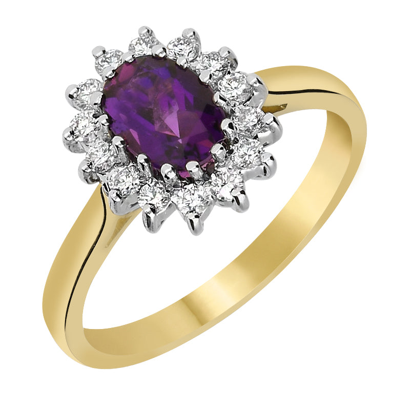 18ct Yellow Gold 0.70ct Amethyst 0.25ct Diamond Cluster Ring