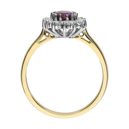 18ct Yellow Gold 0.70ct Amethyst 0.25ct Diamond Cluster Ring. FEU-1485.