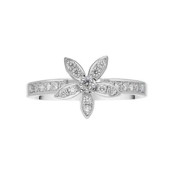 18ct White Gold 0.27ct Diamond Shoulder Flower Ring, R901.  top
