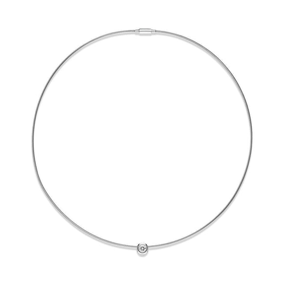 18ct White Gold Diamond Wire Collar Necklace, CH03-18WH-010-NA