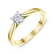 18ct Yellow Gold 0.40ct Diamond Brilliant Cut Solitaire Ring FEU-2318