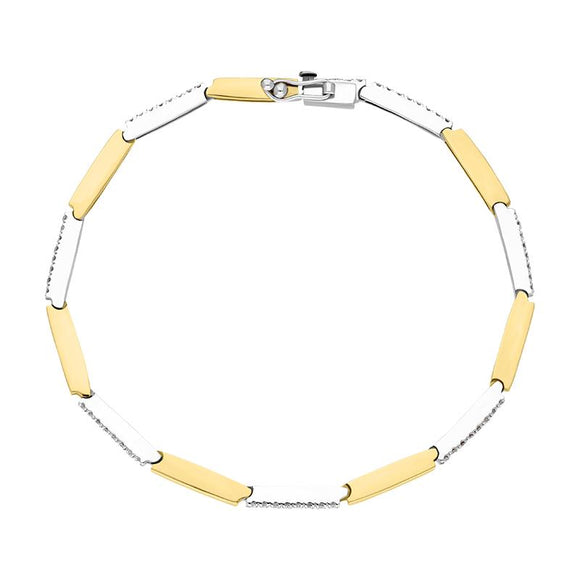 18ct Yellow Gold 0.56ct Diamond Bar Bracelet, B262BT