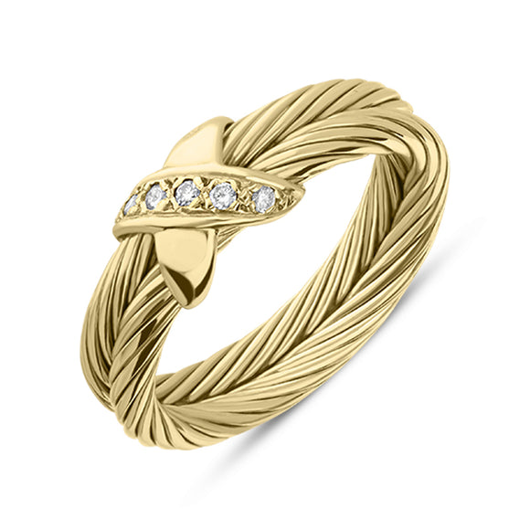 18ct Yellow Gold Diamond Double Band Twist Ring T4136