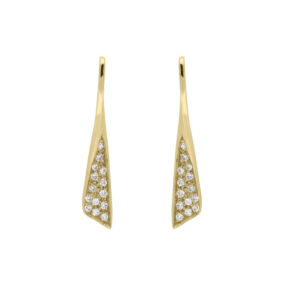 18ct Yellow Gold Diamond Pave Set Drop Earrings PJW063