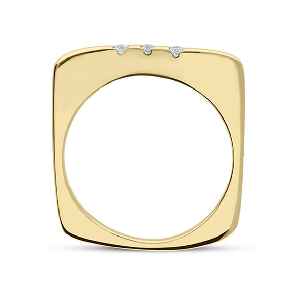 18ct Yellow Gold Diamond Single Wave Ring R258