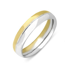 18ct Gold Bi-Colour Court Shape Wedding Ring