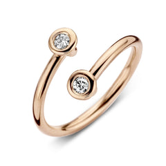 18ct Rose Gold 0.12ct Diamond Cross Over Ring