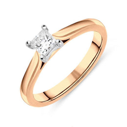 18ct Rose Gold 0.20ct Diamond Princess Cut Solitaire Ring FEU-1292