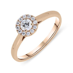 18ct Rose Gold 0.31ct Diamond Pave Round Halo Ring