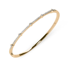 18ct Rose Gold 0.35ct Diamond Hinged Bangle