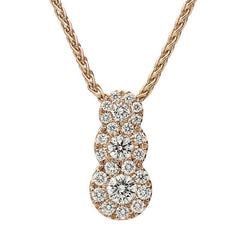 18ct Rose Gold 0.41ct Diamond Graduating Pendant Necklace