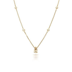 18ct Rose Gold 0.90ct Diamond Pear Cut Necklace